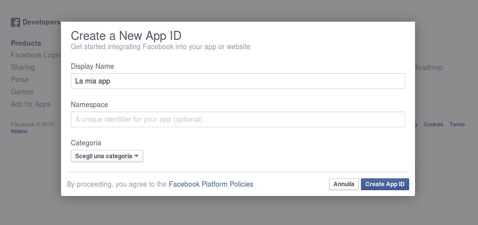 Enter data for your new app